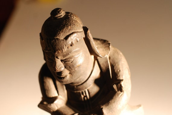 Edo Period Buddhist Statue Yaksa General Japanese Wood Carving