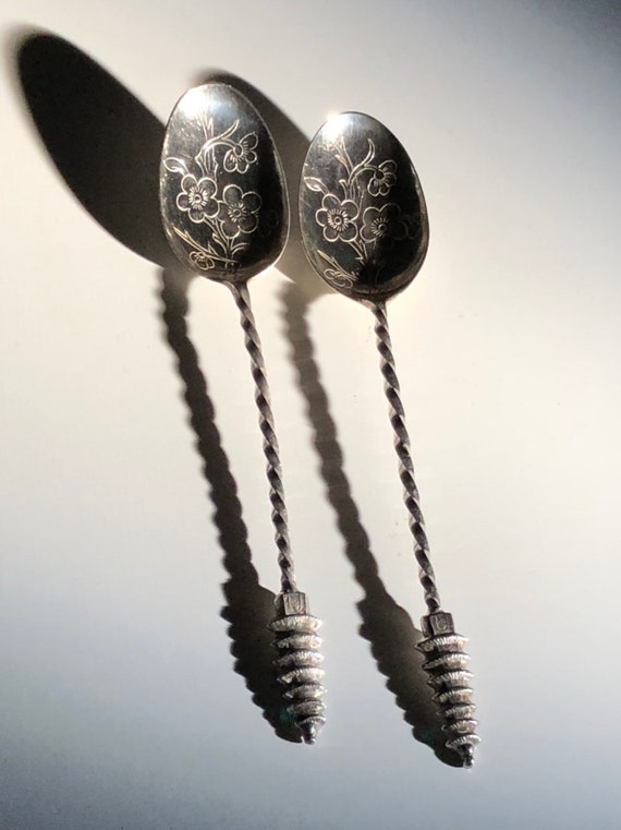 Japanese Pagoda Silver Demitasse Spoons