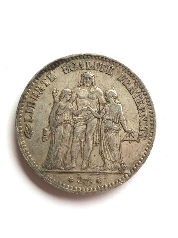 1876 K French Silver 5 Francs Coin (VF) Bordeaux