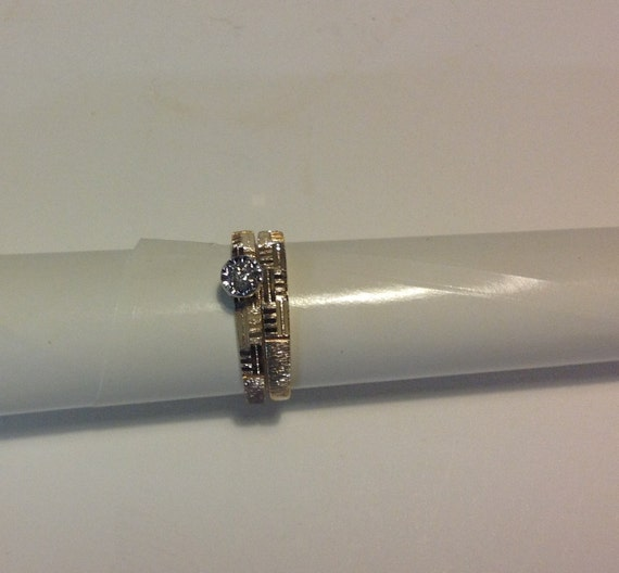 14 KT Gold Wedding Band Set with Diamond Size 6 3/4