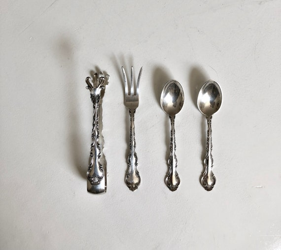 Sterling Silver Gorham Strasbourg Flatware Sugar Tongs Demitasse Lemon Fork