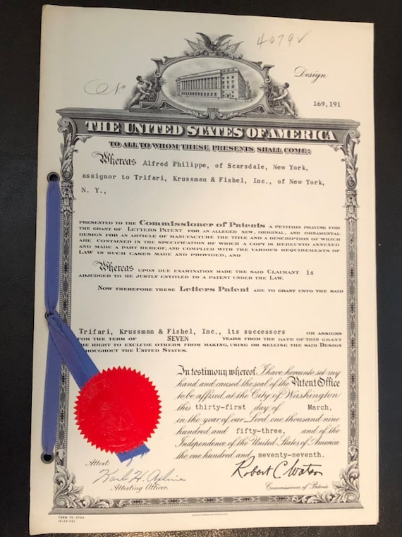 1953 - United States Patent for Trifari Jewelry Bird Brooch