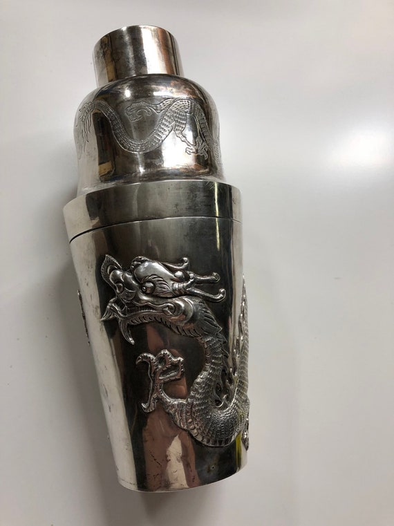 Chinese Silver Dragon Cocktail Shaker Antique (ca. 1850-1890) by Gem Wo of Canton