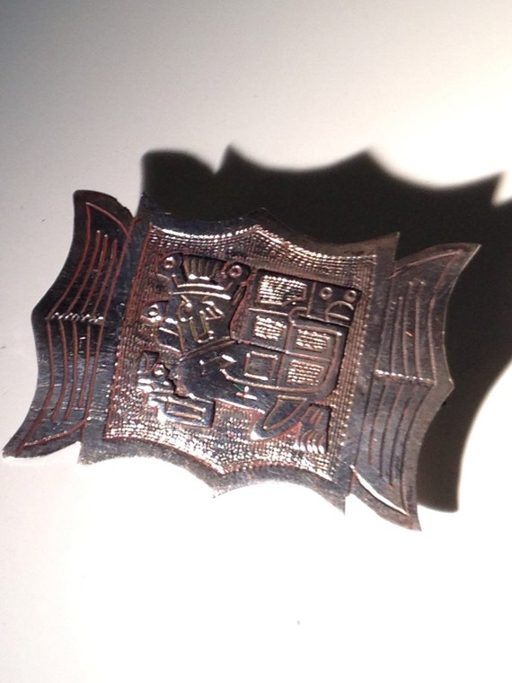 Colombian 900 Silver Brooch