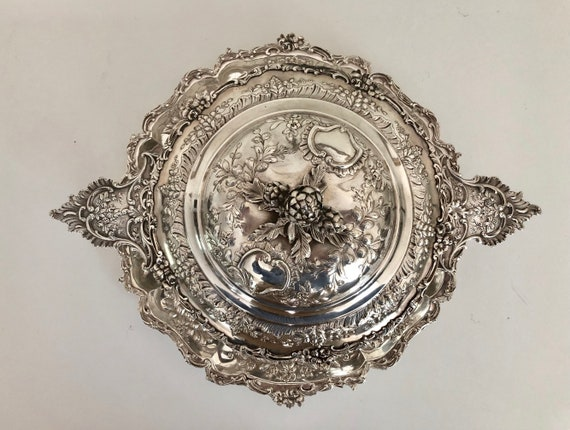 1890 French Sterling Silver Covered Tureen or Dish with Underplate by Emil Delair