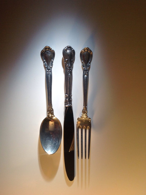 One Sterling Silver Gorham Chantilly Place Setting Fork Knife Spoon