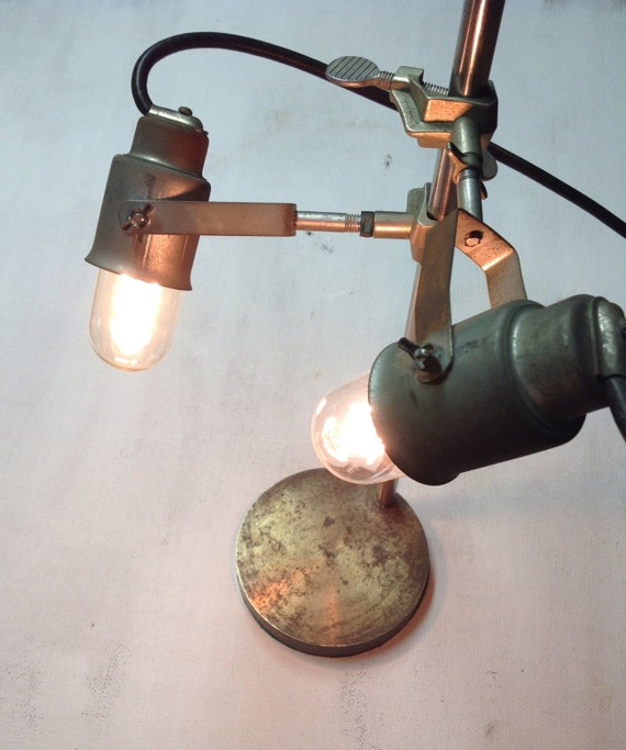 Industrial Adjustable Two Lamp Light Stainless Steel and Brass