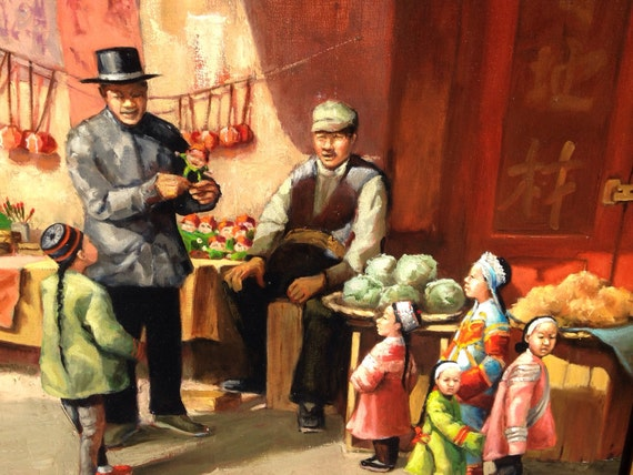 """1800s San Francisco Chinatown Scene Painting by American Artist Pris Buttler 24"""" x 30"""""""