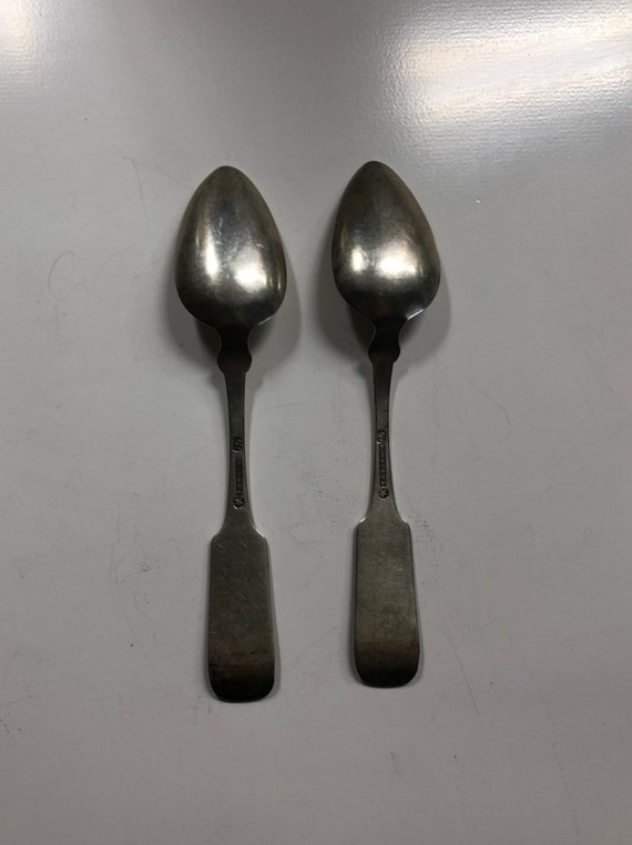 1784-1827 Fiddleback Coin Silver Spoon Set by George I Welles of Boston, MA (Teaspoon with Monogram JA)