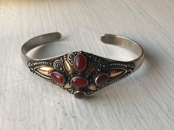 Balinese Carnelian Sterling Silver and Vermeil Bracelet