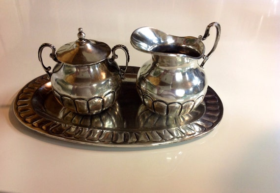 1950 Heavy Sterling Silver Mexican Cream Sugar Tray Set 1/2 Kilo