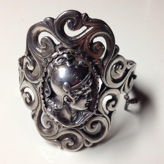 1920 Mexican Sterling Silver Art Nouveau Cuff Bracelet