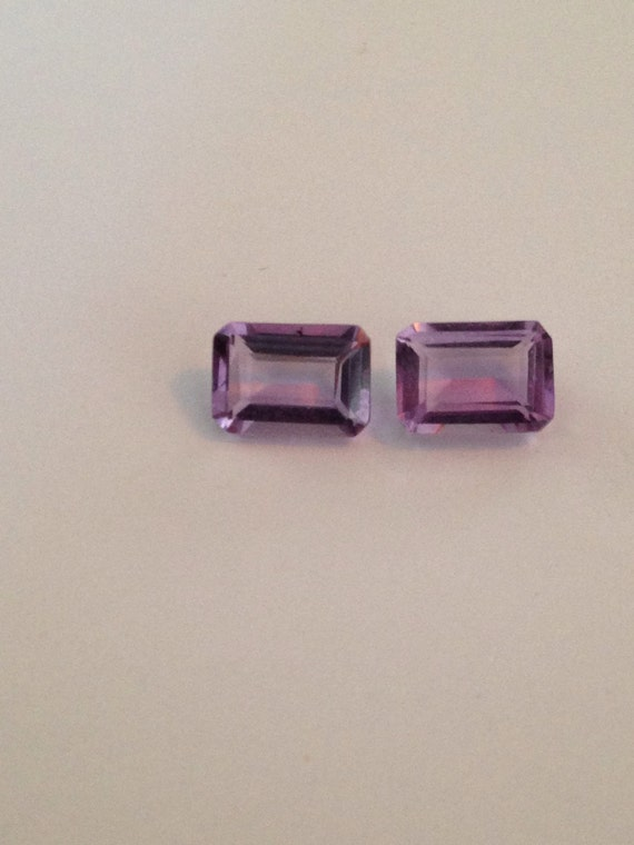 0.75 Ct Emerald Cut Amethyst Octagonal Pair (3.25mm x 5mm x 7mm) (1.5 ct total)