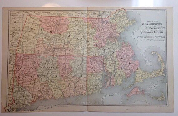 1891 Map of Massachusetts, Connecticut, Rhode Island (Nantucket, Martha's Vineyard, Boston)