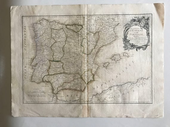 1771 Map of Spain and Portugal