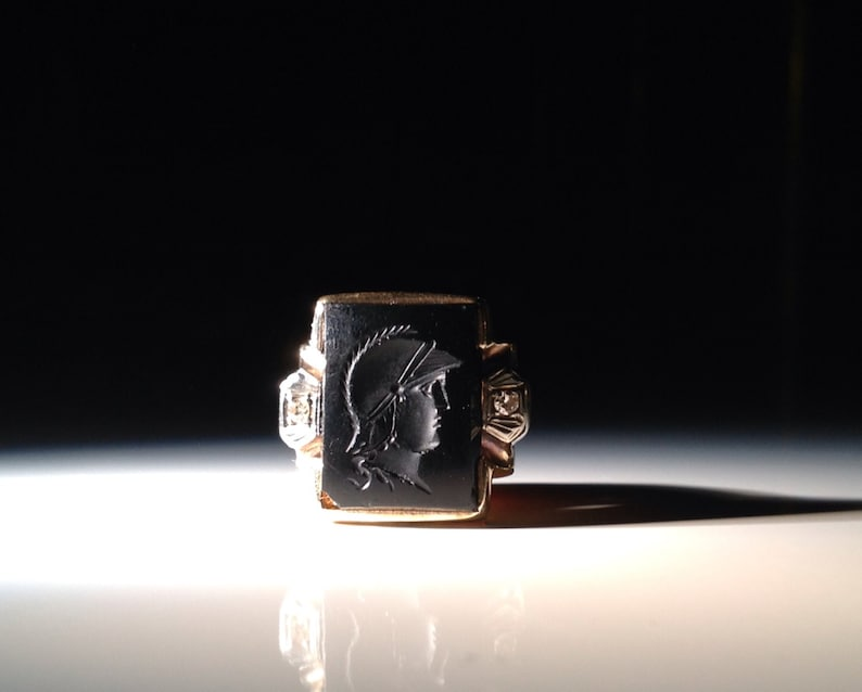Husband Gift 10 KT Art Deco Gold Diamond and Onyx Ring Cameo Spartan Signet