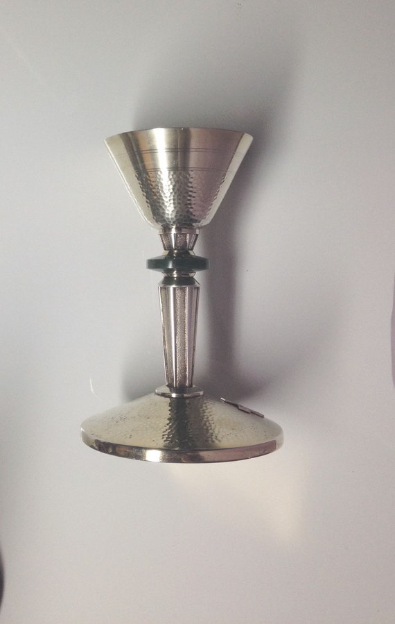 1965 Sterling Silver Chalice Hammered by F C Ziegler with Stone Node