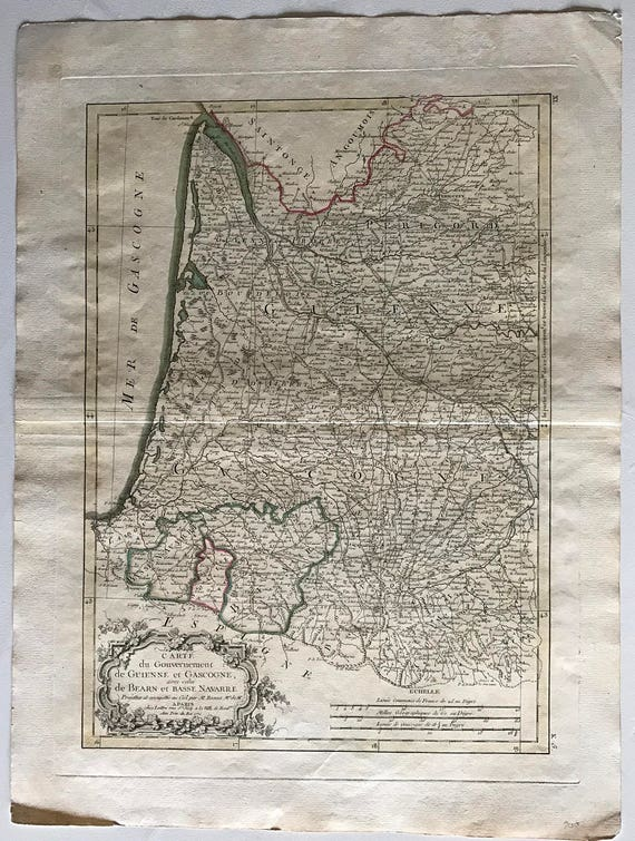 Map Of France Gascony.1774 Map Of Gascony France