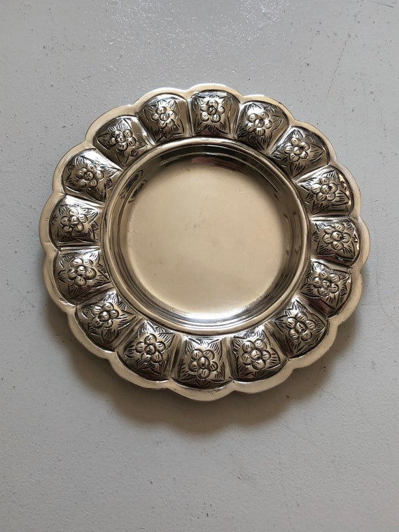 Antique Sterling Silver  Mexican Sanborn's Aztec Rose Small Plate or Tray