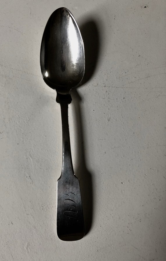 1810 Picture Back Fiddle Pattern Coin Silver Serving Spoon by NYC Smith Demilt