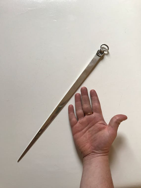 1809 Georgian Monumental Sterling Silver English Meat Skewer or Letter Opener (190 grams)