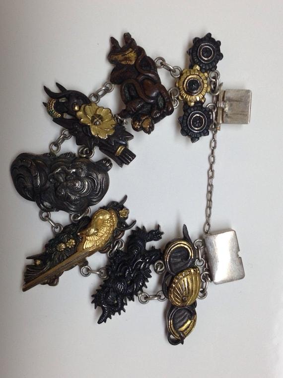 1890 Shakudō Menuki Gilded Silver Bracelet Antique Samurai