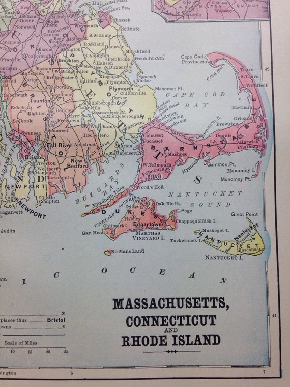 1897 Map of Massachusetts, Connecticut, Rhode Island (Nantucket, Martha's Vineyard, Boston)