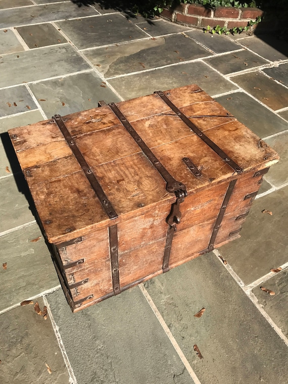 Iron Strapped Wood Strong Box or Cargo Container Coffee Table Sea Chest