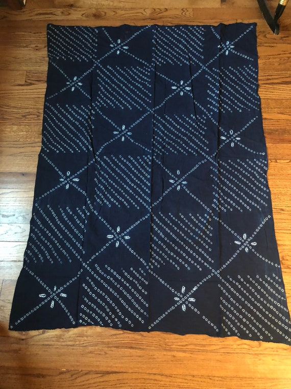 Togolese Batik Fabric Pale and Navy Blue