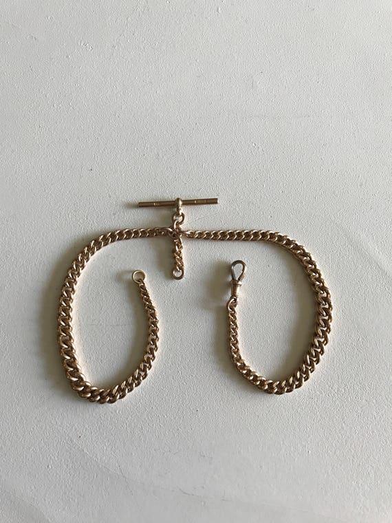 9 ct Rose Gold English Albert Watch Chain - Made by Charles Daniel Broughton of Birmingham - Husband Gift