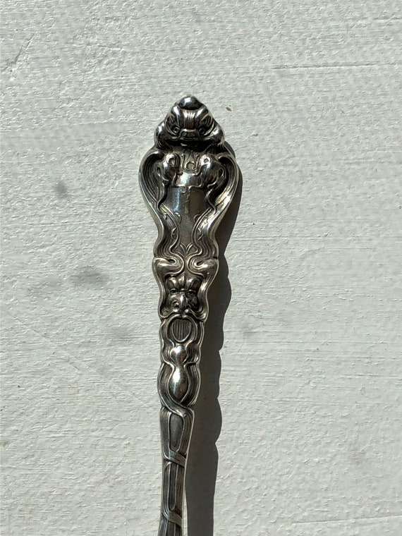 1890 Sterling Silver Art Nouveau Teaspoon by Unger Brothers Douvaine