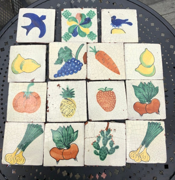 Set of 18 Salvaged Hand-painted Mexican Terracotta Tiles