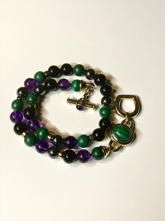 """Kai-Yin Lo Amethyst Malachite Hematite and Onyx Gilded Sterling Silver Necklace (17"""")"""