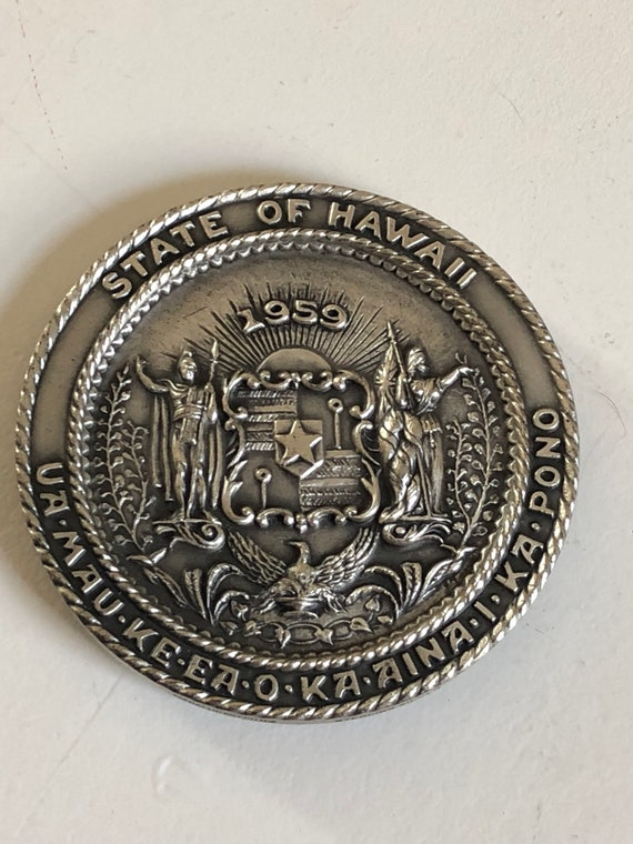 1959 Sterling Silver Large Medallion Hawaii Statehood by Medallic Art Co of NYC (135 grams)