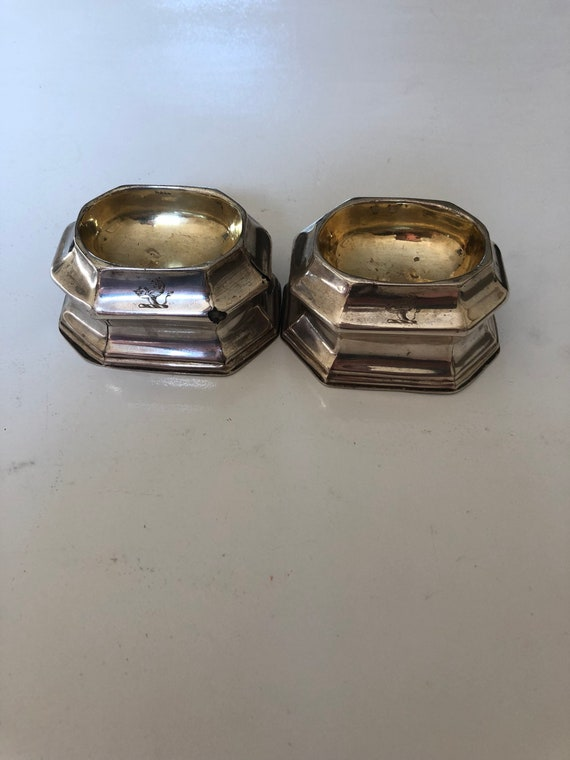 1723 Glover Johnson English Trencher Salt Pair Parcel Gilt Sterling Silver