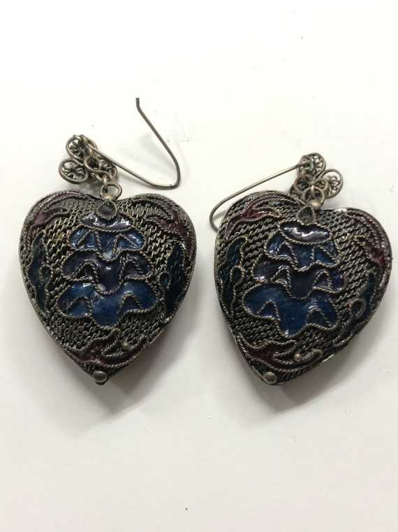 Silver Chinese Enamel Heart Earrings