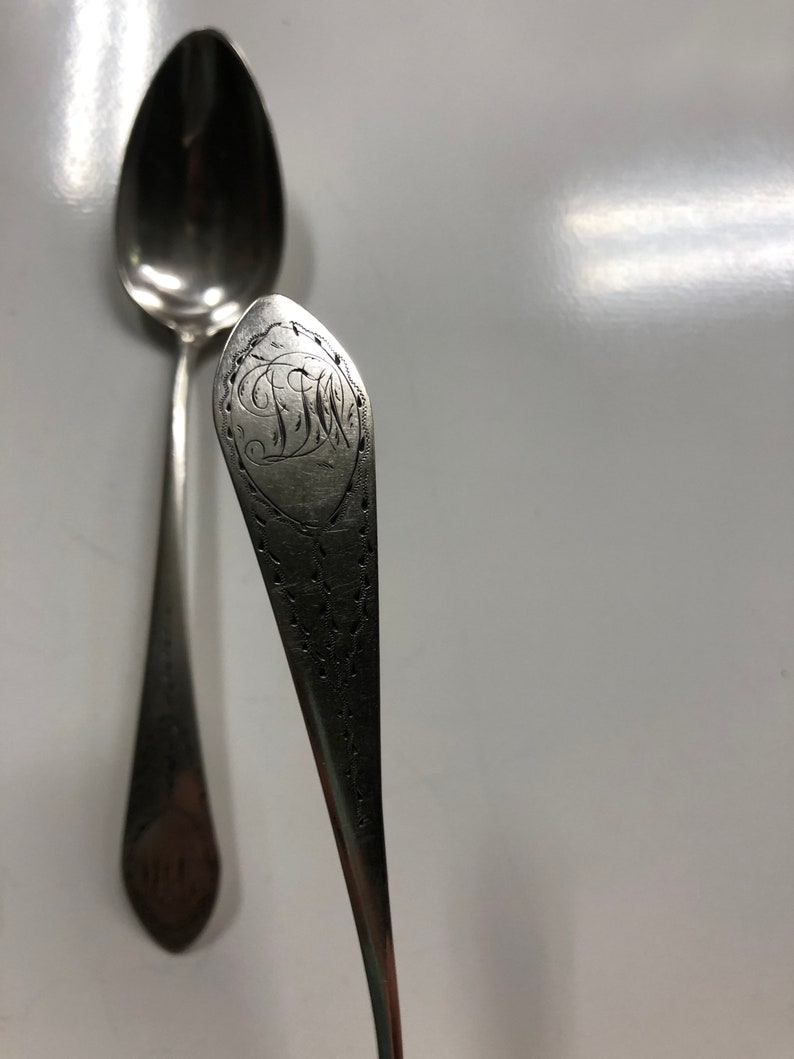 1799-1802 James Ward Hartford CT Colonial Coin Silver Spoon Paire