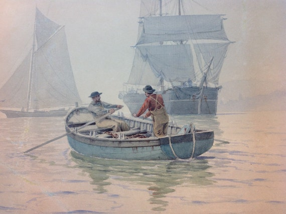 1885 Frederic Cozzens Original Watercolor of New York Brigadier, Yacht, Tug, and Rowboat with Men