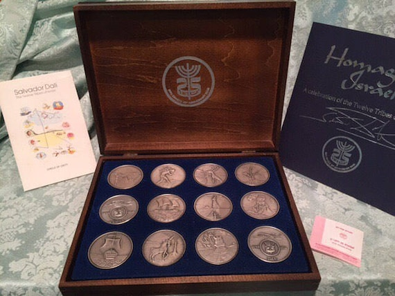 Salvador Dali - Twelve Tribes of Israel Silver Coins 1973 Sculpture in .999 Pure Silver