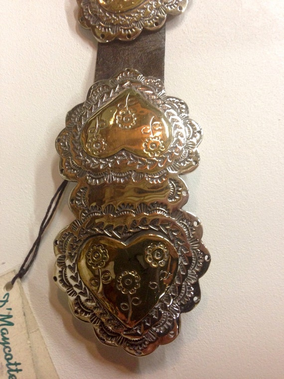 Concho Belt and Buckle by Diane Maycott of Austin Sterling Silver and Brass d'Maycotte