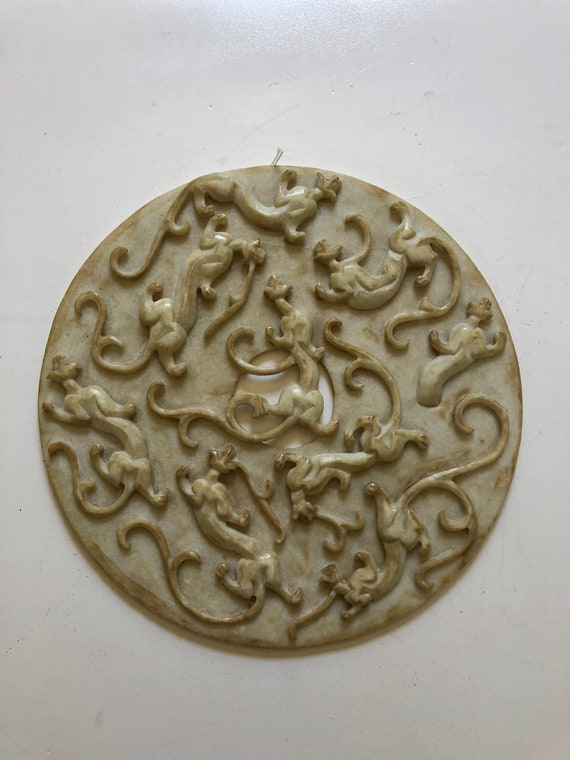 Large Chinese Carved Marble White Tiger Bi Disc