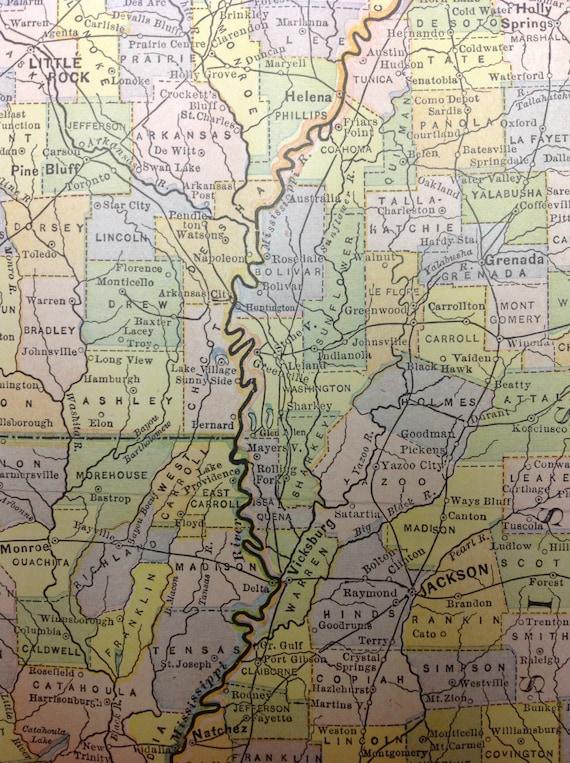Phenomenal 1897 Arkansas Louisiana Mississippi US Regional Map