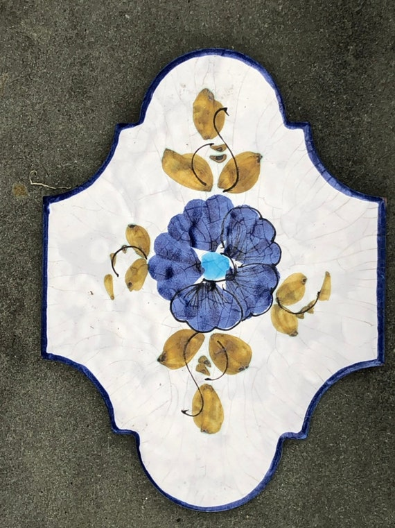Salvaged Hand-painted Italian Terracotta Tile