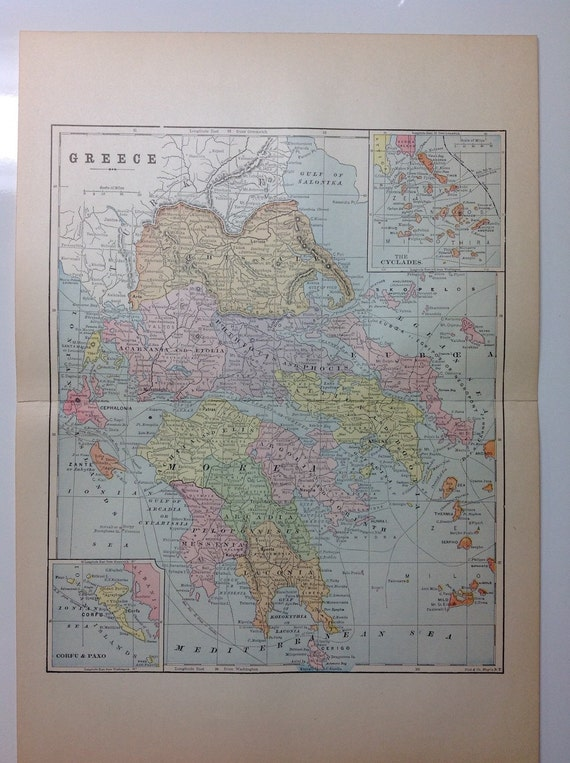 1897 Country Map of Greece