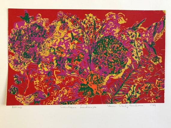 1969 Silkscreen Abstract Landscape Print by Vasso Chadjitheodozou