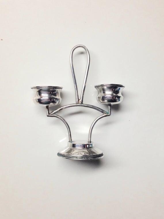1940 Poland 800 Silver Salt Stand with Hand Blown Glass Inserts - Salt Cellar