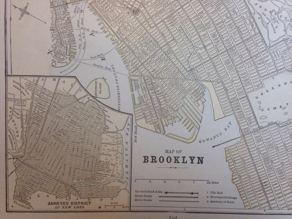Original 1891 Brooklyn and Chicago Map NYC