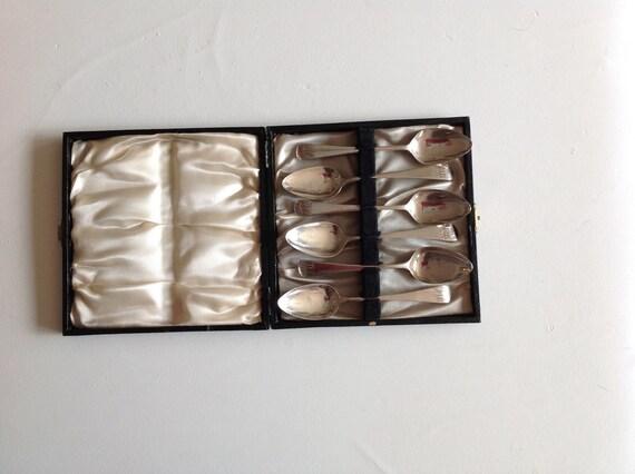 1808 Six Sterling Silver English Teaspoon Set Boxed by Thomas Dicks London
