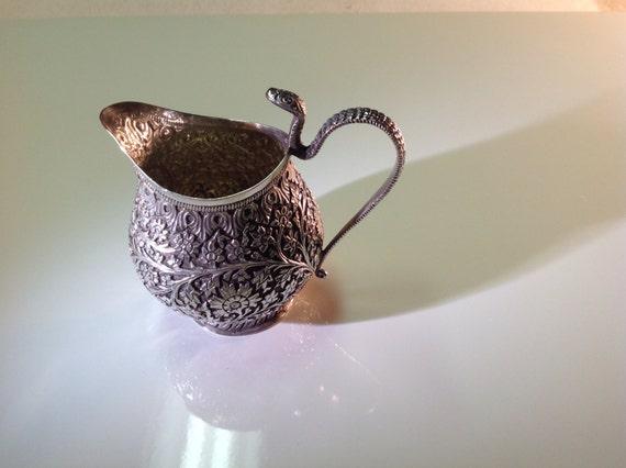 1850 Kashmiri Sterling Silver Cobra Handle Cream Jug Kutch