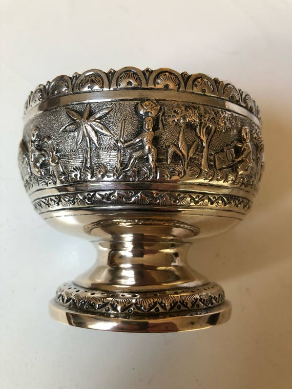 1890 Repousse Silver Pedestal Bowl India (118 grams)